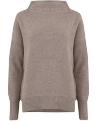 Vince - Funnel Neck Pullover In Heather Taupe - Lyst