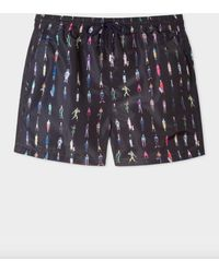 648fce8d62 Paul Smith Black 'dino' Placement Print Swim Shorts in Black for Men - Save  51% - Lyst