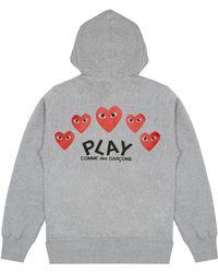 COMME DES GARÇONS PLAY - Grey PLAY Printed Heart-Kapuzenshirt mit Reißverschluss - Lyst