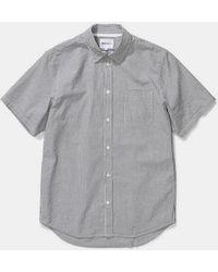 Norse Projects Navy Cotton Stripe Osvald Seersucker Short Sleeve Shirt - Gray