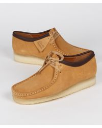 Clarks Camel Suede Wallabee Shoes - Brown
