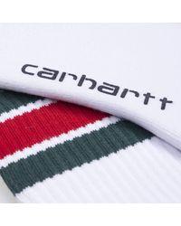 Carhartt Wip Grant Socks White Dark Fir Blast Red - Multicolour