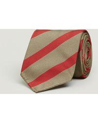 Drake's - Silk Super Repp Wide Stripe Tie - Lyst