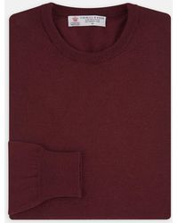 Turnbull & Asser - Dark Red Crew Neck Merino Wool Jumper - Lyst