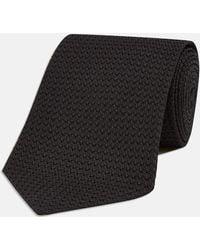 Turnbull & Asser - Long Black Grenadine Silk Tie - Lyst
