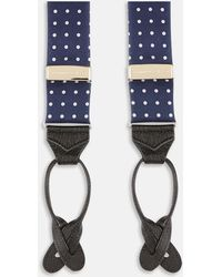 Turnbull & Asser - Navy And White Wide Spot Adjustable Silk Braces - Lyst