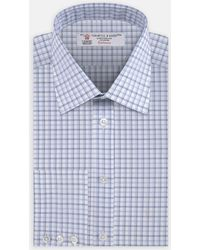 Turnbull & Asser - Blue And White Shadow Check Shirt With Classic T&a Collar And Button Cuffs - Lyst