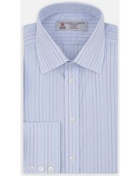 Turnbull & Asser - Blue And Green Fine Stripe Shirt With T&a Collar And Button Cuffs - Lyst