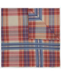 Turnbull & Asser - Red And Blue Check Cotton Handkerchief - Lyst