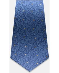 Turnbull & Asser - Navy And Yellow Decorative Floral Silk Tie - Lyst