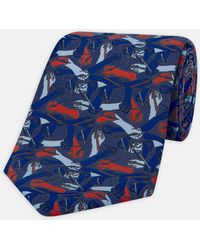 Turnbull & Asser - Camo Hands Red And Navy Printed Silk Tie - Lyst