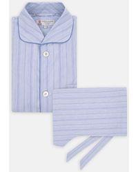 Turnbull & Asser - Blue Brushstroke Cotton Pyjama Set - Lyst