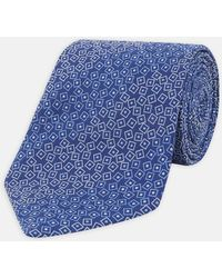 Turnbull & Asser - Scattered Square And Dots Tonal Blue Silk Tie - Lyst