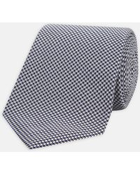 Turnbull & Asser - Seven-fold Navy And White Houndstooth Silk Tie - Lyst