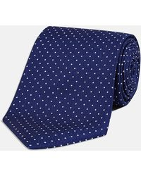 Turnbull & Asser - Navy And White Small Spot Printed Silk Tie - Lyst
