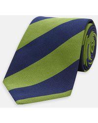 1a8095eb2fec Turnbull & Asser - Navy And Green Block Stripe Repp Silk Tie - Lyst