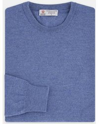 Turnbull & Asser - Blue Crew Neck Merino Wool Jumper - Lyst