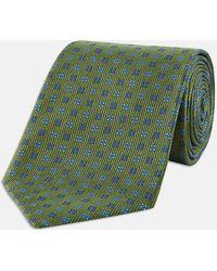Turnbull & Asser - Green And Blue Mini Square Spot Silk Tie - Lyst
