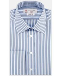 e2e606ba80 Turnbull & Asser - Two-fold 120 Blue And White Stripe Cotton Shirt With  Classic