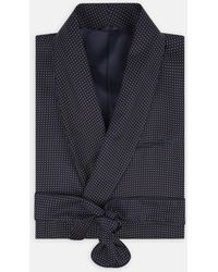Turnbull & Asser - Navy Churchill Spot Silk Gown - Lyst