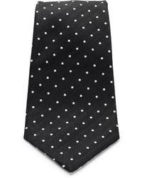 Turnbull & Asser - Black And White Small Spot Herringbone Silk Tie - Lyst