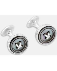 Turnbull & Asser - White Sterling Silver Button Cufflinks - Lyst