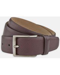 Turnbull & Asser - Burgundy Grained Leather Belt - Lyst