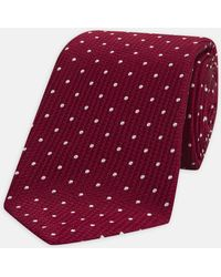 Turnbull & Asser - Seven-fold Burgundy And White Spot Lace Silk Tie - Lyst