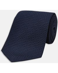 Turnbull & Asser - Slim Navy Grenadine Silk Tie - Lyst