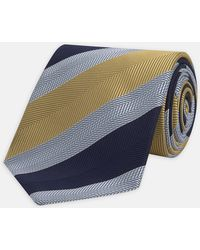 Turnbull & Asser - Yellow And Navy Herringbone Stripe Silk Tie - Lyst