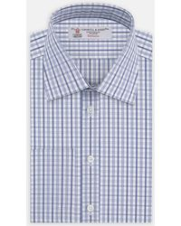 Turnbull & Asser - Blue Textured Check Shirt With T&a Collar And Double Cuffs - Lyst