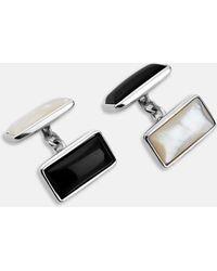 Turnbull & Asser - Reversible Monochrome Sterling Silver Rectangular Cufflinks - Lyst