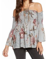 Chaser - Off The Shoulder Floral Top - Lyst