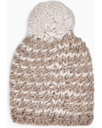 fc311c8738657 Lyst - UGG Fabric Baseball Hat With Fur Pom in Natural