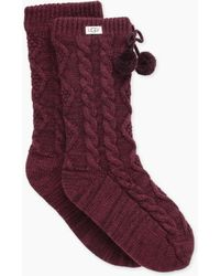 UGG - Pom Pom Fleece Lined Crew Sock Pom Pom Fleece Lined Crew Sock - Lyst