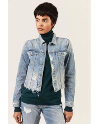 GRLFRND - Jeansjacke 'Cara' im Destroyed-Look Blau 100% Baumwolle Made in USA - Lyst