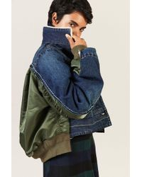 Sacai - Jeansjacke mit Details Blau 100% Baumwolle Füllung: - Lyst