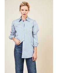Dries Van Noten - Baumwoll-Bluse 'Cavello' Blau/Weiß 100% Baumwolle Made in Portugal - Lyst