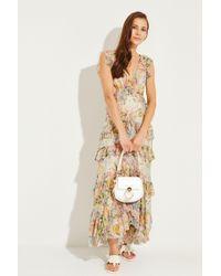 Zimmermann - Langes Seiden-Kleid mit Rüschen Multi - Lyst