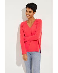 Allude - Cashmere-Pullover mit V-Ausschnitt Pink - Lyst