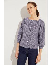 M.i.h Jeans - Karierte Bluse 'Ella' Marineblau/Weiß - Lyst