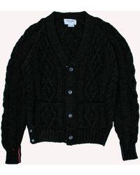 Thom Browne - Aran Cable Raglan Sleeve Cardigan - Lyst
