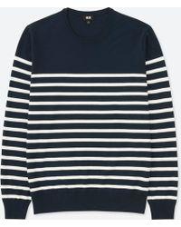 Uniqlo - Men Washable Striped Crewneck Long-sleeve Sweater - Lyst