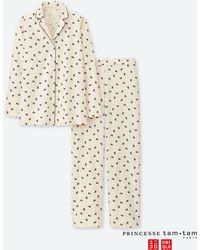 Lyst - Uniqlo Women Princesse Tam.tam Flannel Long-sleeve Pajamas in ... 7107cb72b