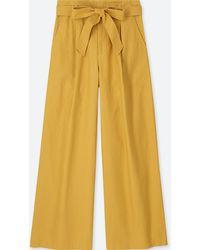 Uniqlo - Women Belted Linen Cotton Wide Pants - Lyst