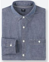 a2cda0af12d Uniqlo - Men Chambray Work Long-sleeve Shirt (online Exclusive) - Lyst