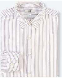 a056d955f Uniqlo - Men Easy Care Striped Stretch Slim-fit Long-sleeve Shirt - Lyst