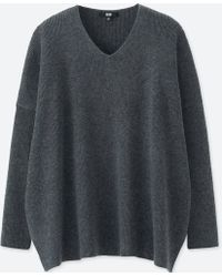 Uniqlo - Ribbed Relaxed Fit Longline V Neck Jumper - Lyst