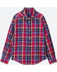 Uniqlo - Girls Flannel Checked Long-sleeve Shirt - Lyst