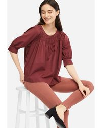 43f24327078f6 Lyst - Uniqlo Women Soft Cotton Gathered 3 4 Sleeve Blouse in Purple